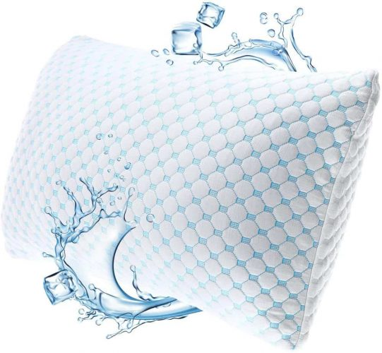 Nestl Coolest Pillow Heat and Moisture Reducing Ice Silk and Gel Infused Memory Foam Pillow. Adjustable, Washable, Breathable