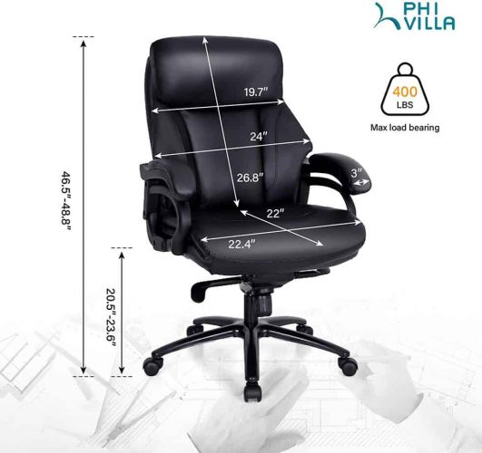 PHI VILLA Office Chair with High Back,Ergonomic Desk Chair with Massage Lumbar Support,Executive Office Chair with Enlarged Back
