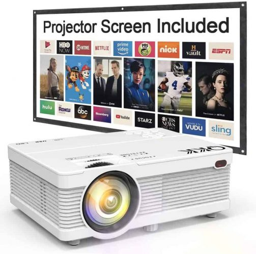 QKK Mini Projector 6500Lumens Portable LCD Projector [100 Projector Screen Included] Full HD 1080P Supported, Compatible with Smartphone, TV Stick, Games, HDMI, AV, Projector for Outdoor Movies