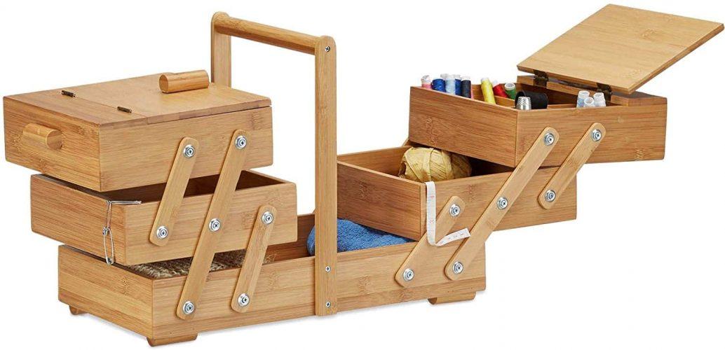 Relaxdays XXL Bamboo Sewing Box