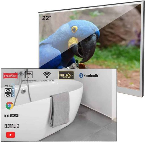 Soulaca- Velasting 22 inches Bluetooth Smart LED TV for Bathroom Magic Mirror Television SPA Android