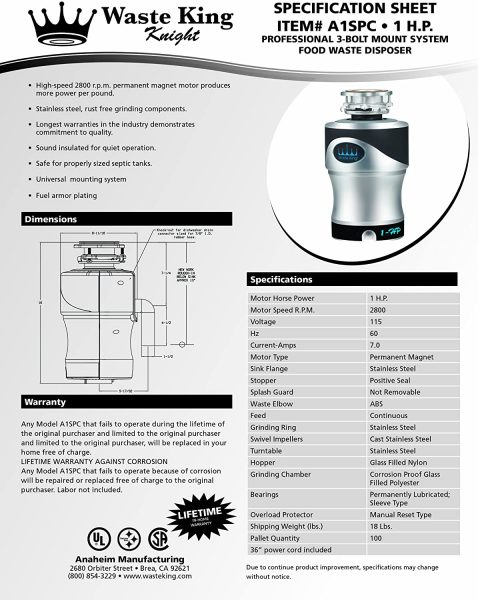 Waste King Knight A1SPC best Garbage Disposal with Power Cord, 1 HP with Exclusive Silencer Technology