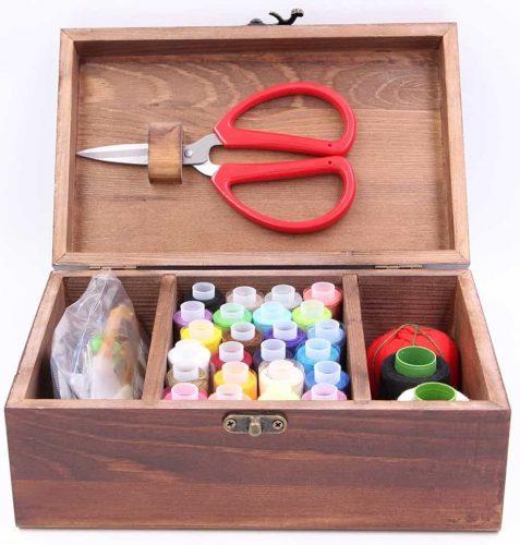 Wooden Sewing Kit Set - Wood Basket Storage Organizer Box